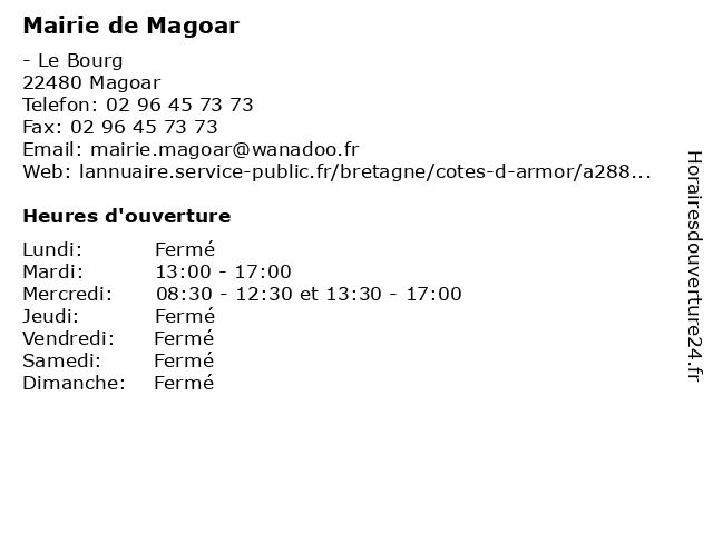 Mairie de Magoar à Magoar: adresse et heures d'ouverture