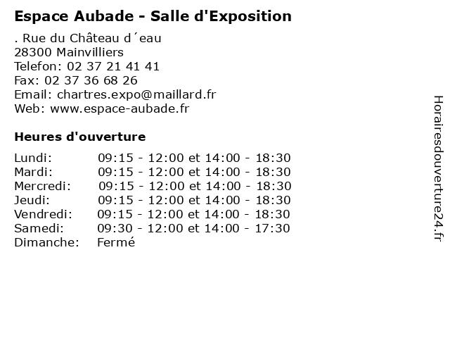 Á… Espace Aubade Salle D Exposition Horaires D Ouverture Rue Du Chateau D Eau A Mainvilliers