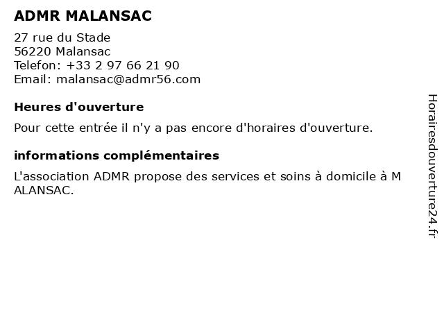 ADMR MALANSAC à Malansac: adresse et heures d'ouverture
