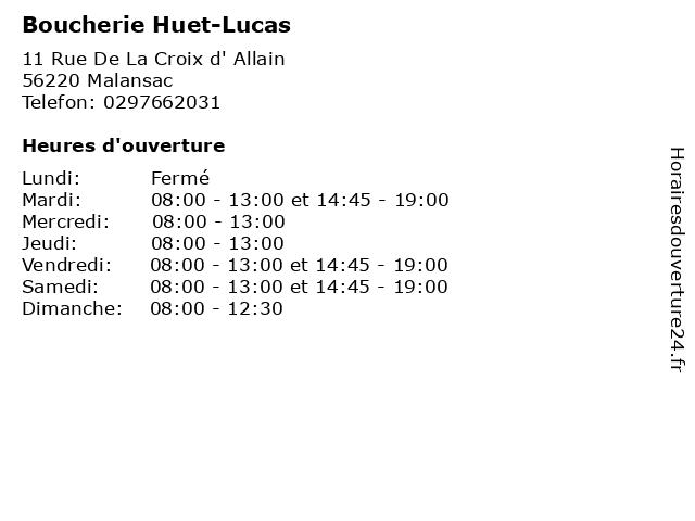 Boucherie Huet-Lucas à Malansac: adresse et heures d'ouverture