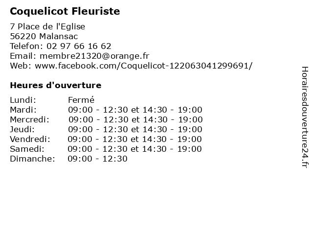 Coquelicot Fleuriste à Malansac: adresse et heures d'ouverture