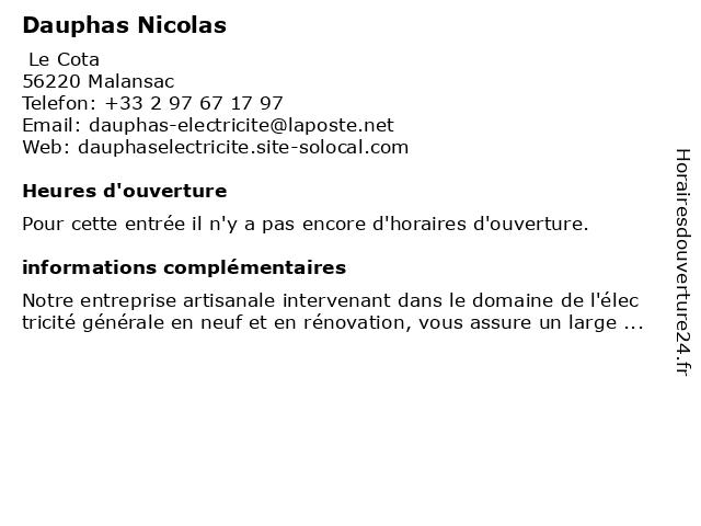 Dauphas Nicolas à Malansac: adresse et heures d'ouverture