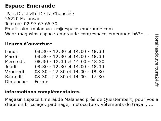 Espace Emeraude à Malansac: adresse et heures d'ouverture