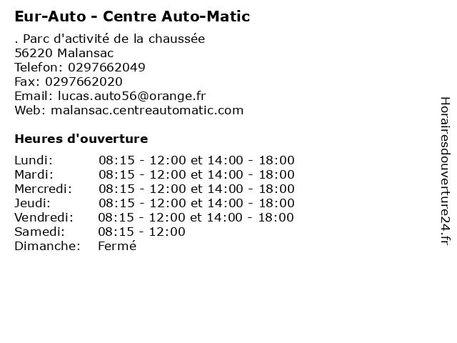 Eur-Auto - Centre Auto-Matic à Malansac: adresse et heures d'ouverture