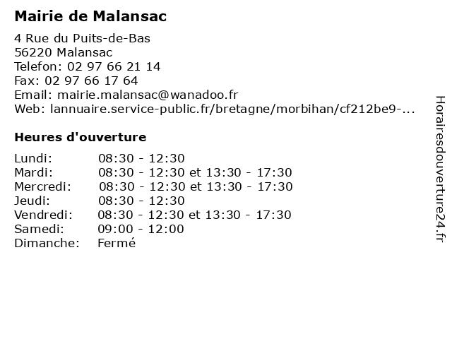 Mairie de Malansac à Malansac: adresse et heures d'ouverture