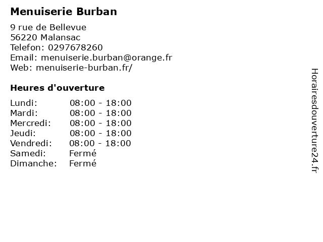 Menuiserie Burban à Malansac: adresse et heures d'ouverture