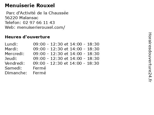 Menuiserie Rouxel à Malansac: adresse et heures d'ouverture