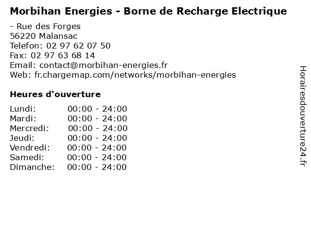 Morbihan Energies - Borne de Recharge Electrique à Malansac: adresse et heures d'ouverture