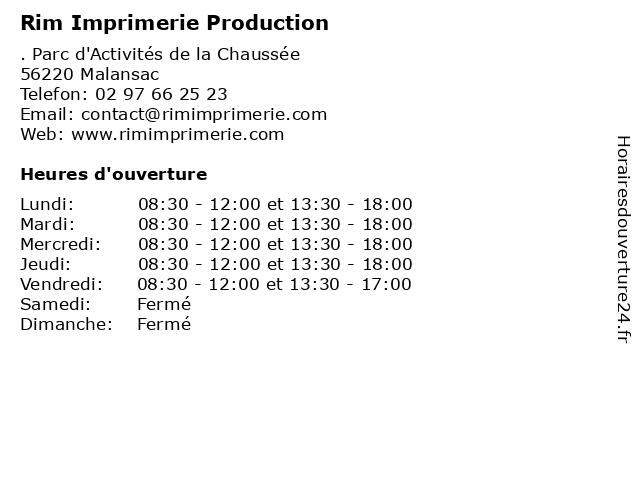 Rim Imprimerie Production à Malansac: adresse et heures d'ouverture