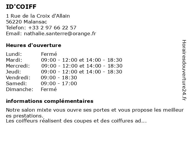 Santerre Nathalie à Malansac: adresse et heures d'ouverture