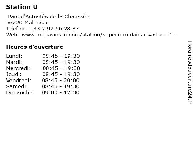Station U à Malansac: adresse et heures d'ouverture