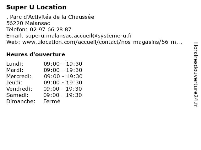 Super U Location à Malansac: adresse et heures d'ouverture
