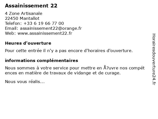 Assainissement 22 à Mantallot: adresse et heures d'ouverture
