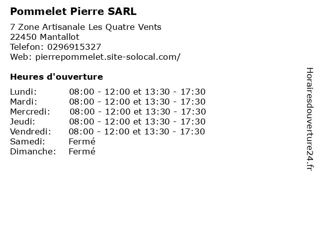 Pommelet Pierre SARL à Mantallot: adresse et heures d'ouverture