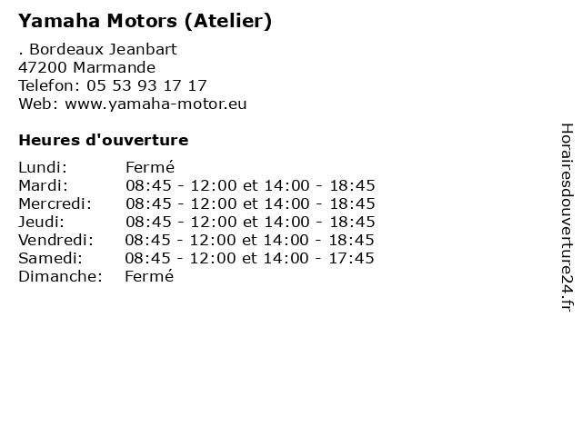 Yamaha Motors (Atelier) à Marmande: adresse et heures d'ouverture