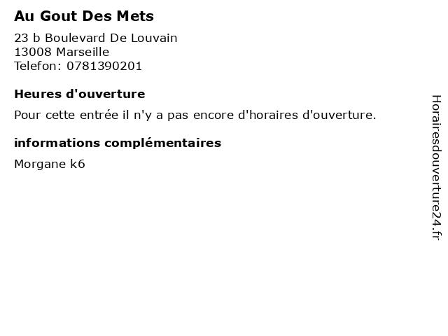 Au Gout Des Mets à Marseille: adresse et heures d'ouverture
