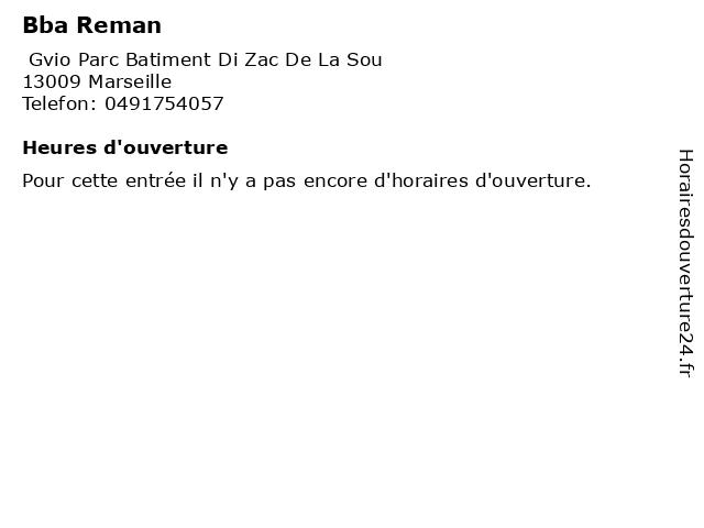 Bba Reman à Marseille: adresse et heures d'ouverture