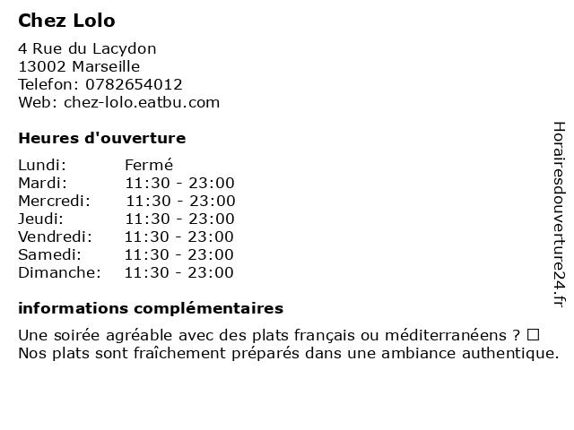 Chez Lolo à Marseille: adresse et heures d'ouverture