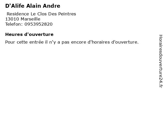 D'Alife Alain Andre à Marseille: adresse et heures d'ouverture