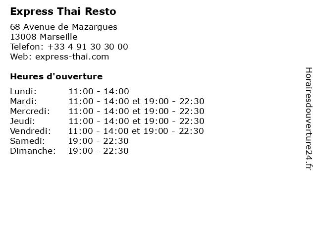 Express Thai Resto à Marseille: adresse et heures d'ouverture