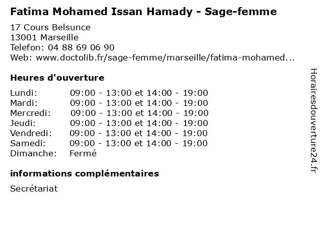 Fatima Mohamed Issan Hamady - Sage-femme à Marseille: adresse et heures d'ouverture