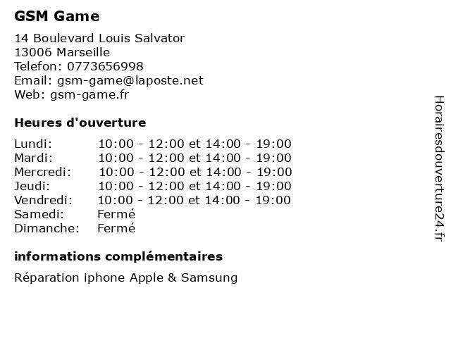 GSM Game à Marseille: adresse et heures d'ouverture
