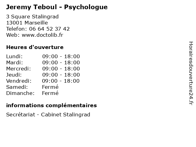Jeremy Teboul - Psychologue à Marseille: adresse et heures d'ouverture