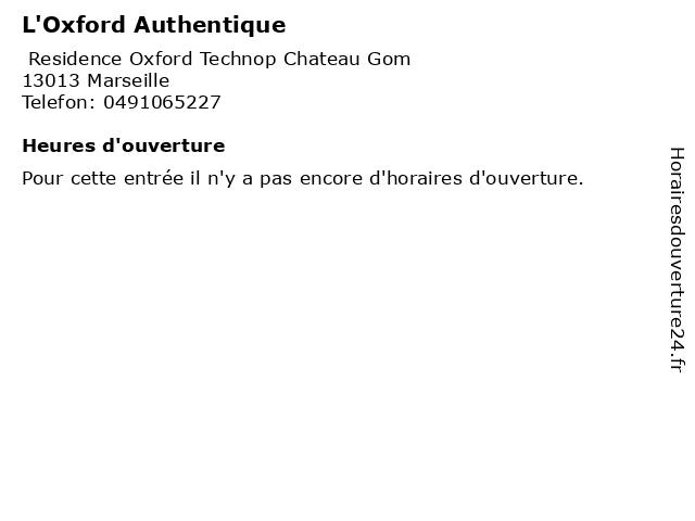 L'Oxford Authentique à Marseille: adresse et heures d'ouverture