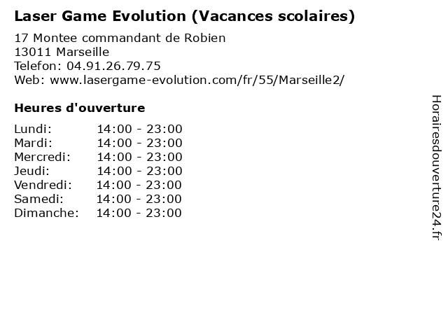 Laser Game Evolution (Vacances scolaires) à Marseille: adresse et heures d'ouverture