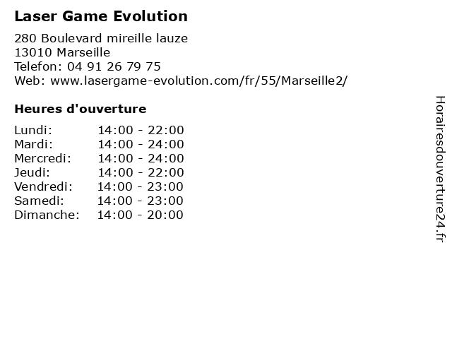Laser Game Evolution à Marseille: adresse et heures d'ouverture
