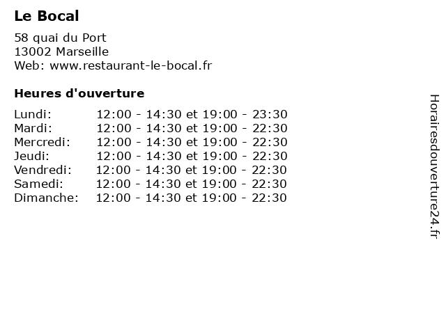 Le Bocal à Marseille: adresse et heures d'ouverture