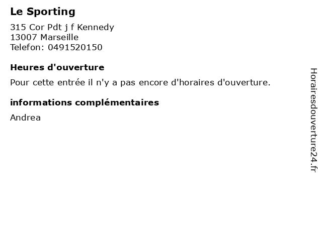 Le Sporting à Marseille: adresse et heures d'ouverture