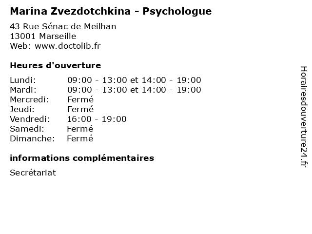 Marina Zvezdotchkina - Psychologue à Marseille: adresse et heures d'ouverture