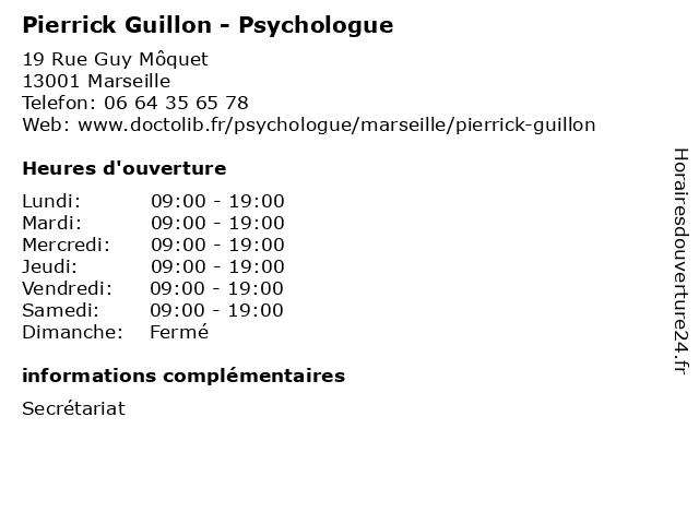 Pierrick Guillon - Psychologue à Marseille: adresse et heures d'ouverture