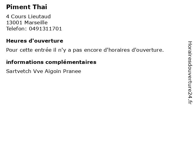 Piment Thai à Marseille: adresse et heures d'ouverture
