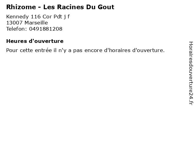 Rhizome - Les Racines Du Gout à Marseille: adresse et heures d'ouverture