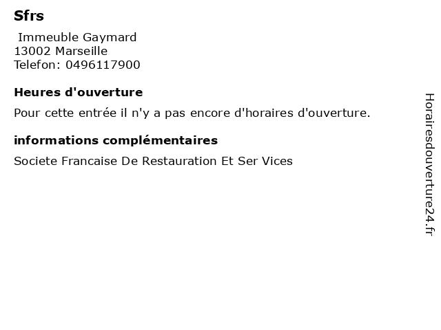Sfrs à Marseille: adresse et heures d'ouverture
