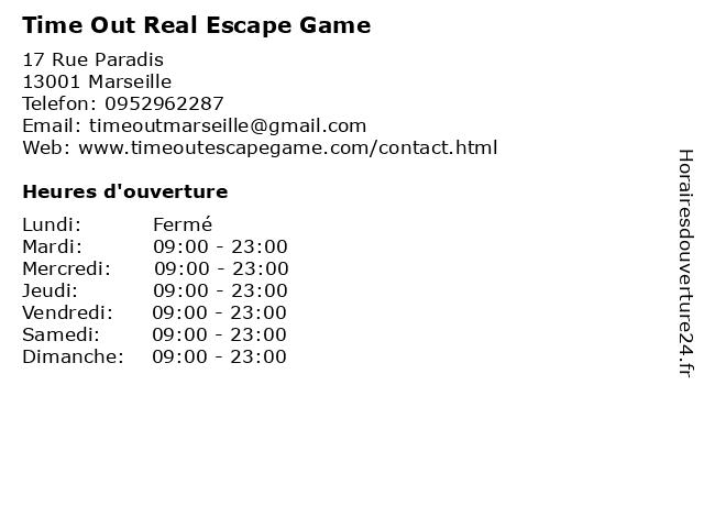 Time Out Real Escape Game à Marseille: adresse et heures d'ouverture