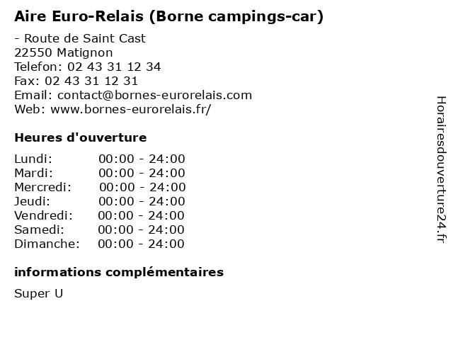 Aire Euro-Relais (Borne campings-car) à Matignon: adresse et heures d'ouverture