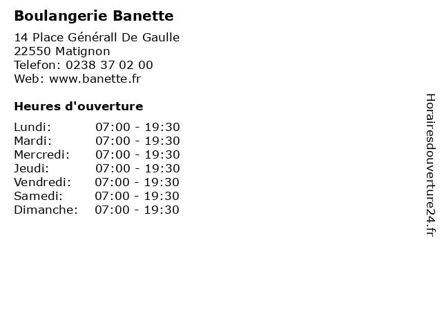 Boulangerie Banette à Matignon: adresse et heures d'ouverture