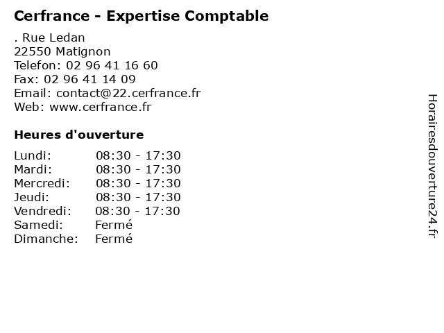 Cerfrance - Expertise Comptable à Matignon: adresse et heures d'ouverture