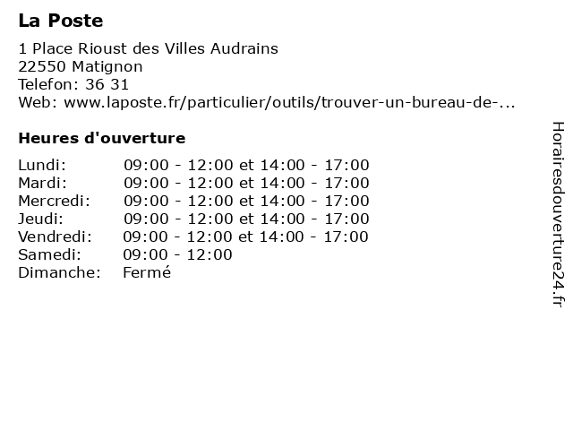 La Poste à Matignon: adresse et heures d'ouverture