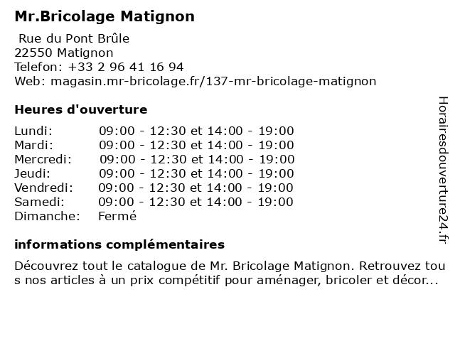 Mr.Bricolage Matignon à Matignon: adresse et heures d'ouverture