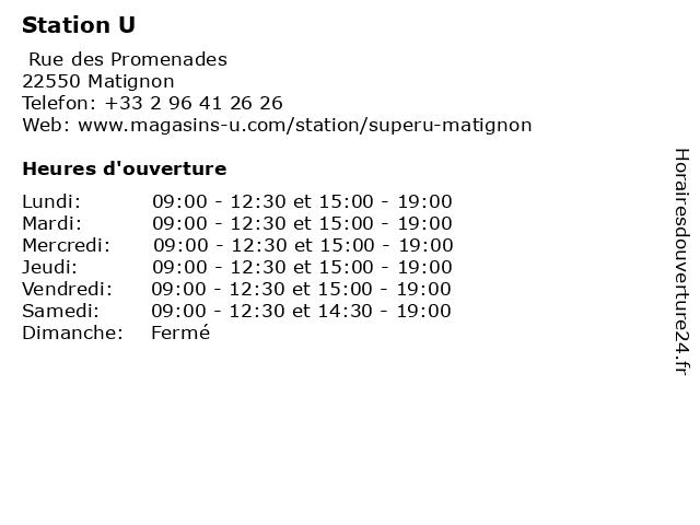 Station U à Matignon: adresse et heures d'ouverture