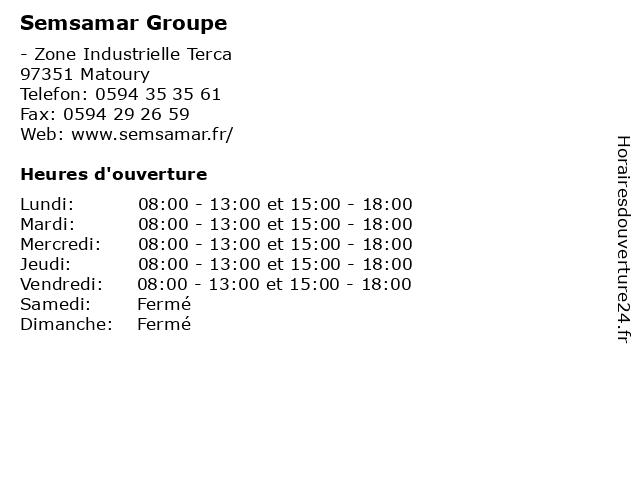 Semsamar Groupe à Matoury: adresse et heures d'ouverture