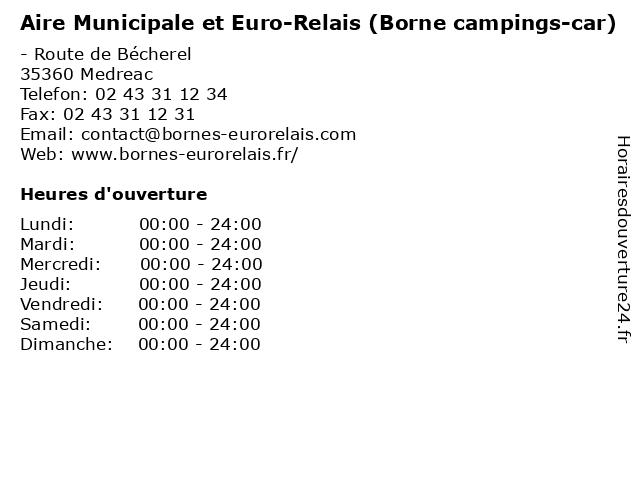 Aire Municipale et Euro-Relais (Borne campings-car) à Medreac: adresse et heures d'ouverture
