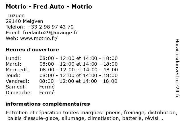 Fred Auto - Motrio à Melgven: adresse et heures d'ouverture