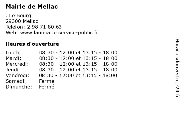 Mairie de Mellac à Mellac: adresse et heures d'ouverture