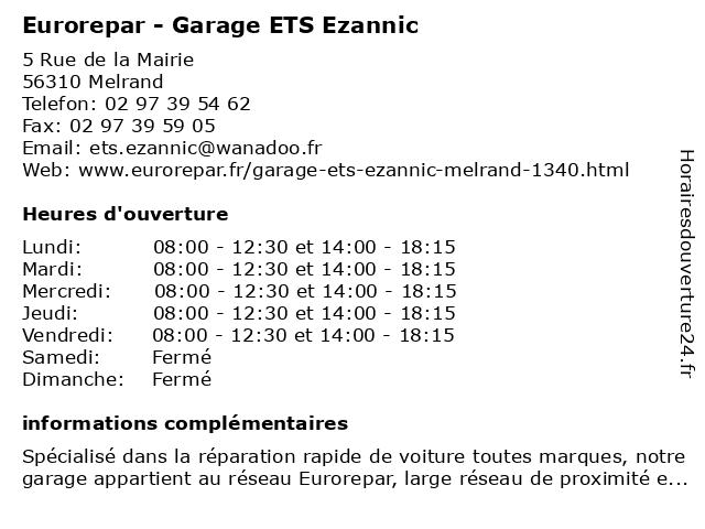 ETS Ezannic à Melrand: adresse et heures d'ouverture