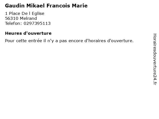Gaudin Mikael Francois Marie à Melrand: adresse et heures d'ouverture